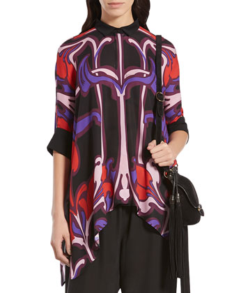 Art Nouveau Flower Print Silk Cape Shirt