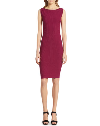 Fuchsia Stretch Viscose Jacquard Dress