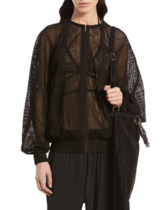 Perforated Suede Bomber Jacket, Mesh Bra Top & Embroidered Silk Jogging ...