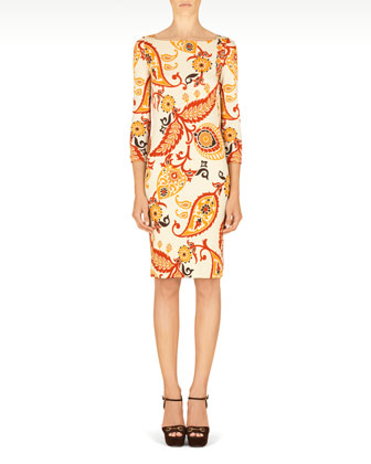 Paisley Printed 3/4-Sleeve Dress, Ivory/Multi