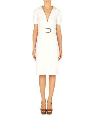 Cady Stretch Collared Dress with Belt, White