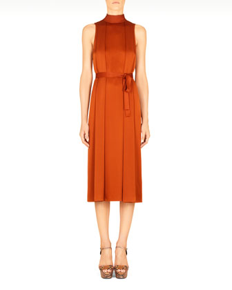 Hammered Silk Tie-Back Dress, Rust