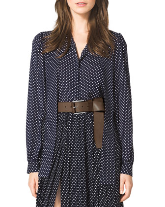 Polka-Dot Tie-Neck Blouse, Polka-Dot Pleated Skirt & Leather Flip-Tie Belt