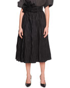 Full A-Line Skirt with Fanned Belt, Black