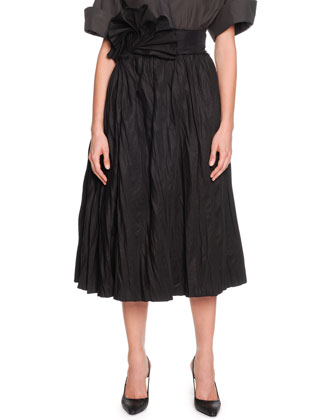 Full A-Line Skirt with Fanned Belt, Black