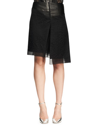 Asymmetric Embroidered Mesh Skirt