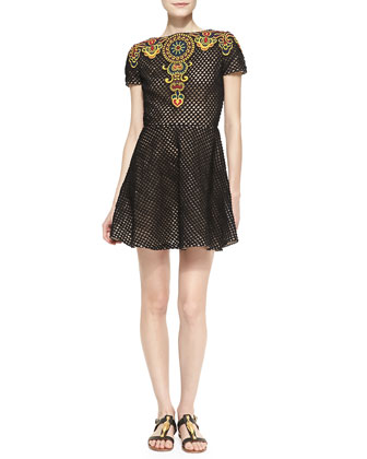 Short-Sleeve Embroidered Fit-and-Flare Dress, Black/Raffia