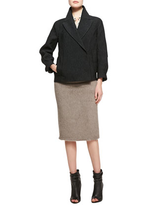Tailored Short Jacquard Jacket, Black