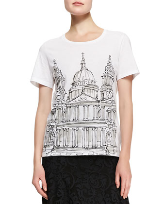 Double-Breasted A-Line Midi Coat, St Paul's Cathedral Printed Jersey ...