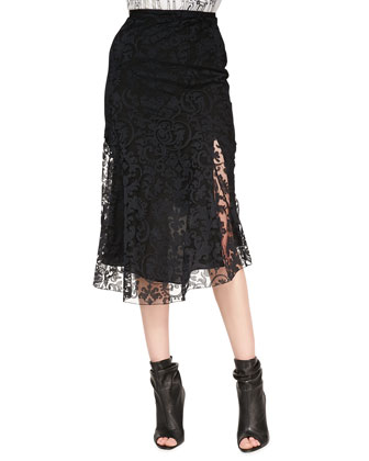 Fluted Lace Midi Skirt, Black