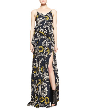 Cropped Fur/Leather Jacket & Scroll and Floral Printed Evening Gown