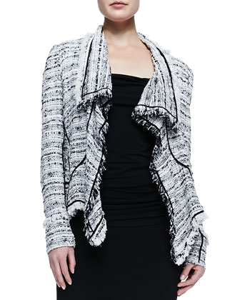 Tweed Cascade Cardigan, Twist-Strap Draped Top & Chain-Trim Fitted Straight ...