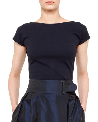 Jersey Cap-Sleeve Boat-Neck Top, Navy