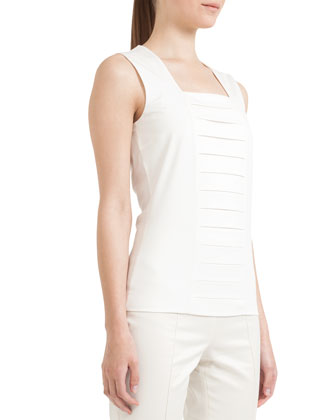 Square-Neck Tank with Pleats, Cream