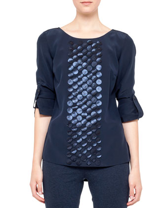 Laser-cut Punto Blouse, Blue
