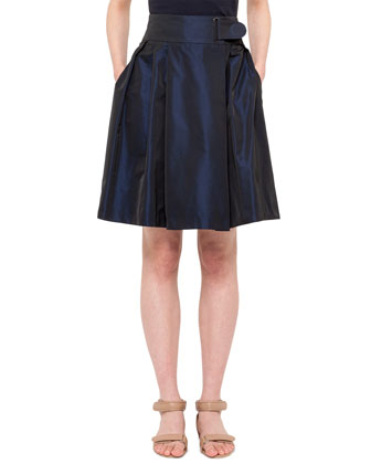 Faux Wrap Full Skirt, Navy