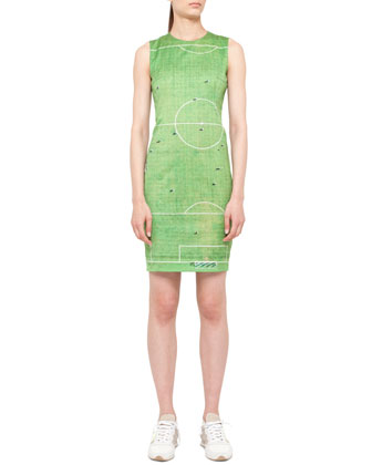 Soccer Field Printed Dress, Green