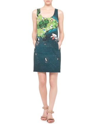 Wind-Surf Printed Sheath Dress, Green/Multi