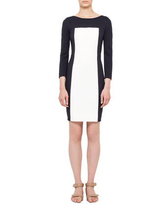 Long-Sleeve Colorblock Paneled Dress, Navy/Cream