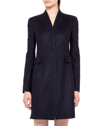 V-Neck Wool Coat with Pockets, Navy