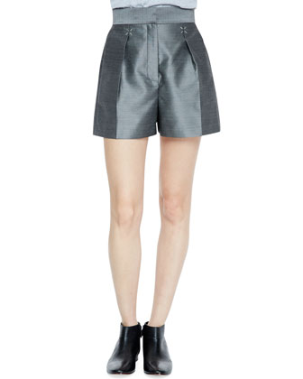 Suiting Shorts with Silver Hardware, Black/White