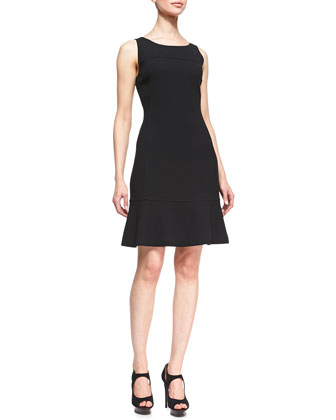 Sleeveless Wool Dress with Flared Skirt, Black