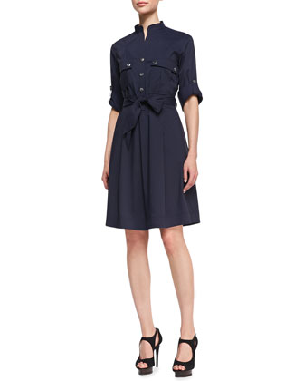 Snap-Front Shirtdress with A-Line Skirt, Navy