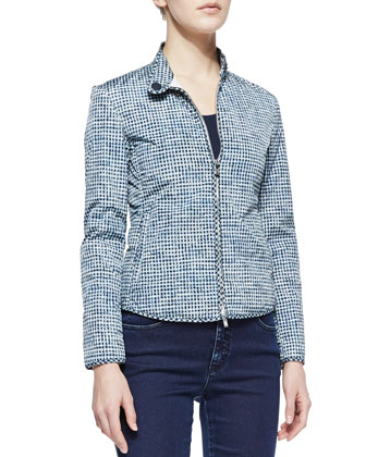Basketweave Printed Tech Fabric Jacket, Navy