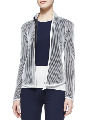 Stripe Knit Jacket, Colorblock Knit Tank & Jersey Legging Pants with Front ...