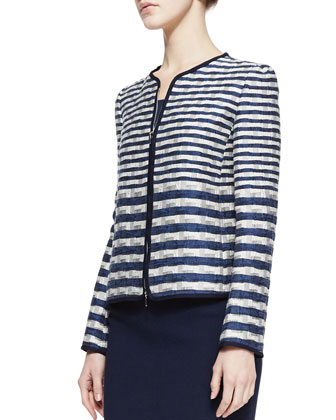Striped Jacquard Jacket, Slim Jersey Tank & Crepe Pencil Skirt
