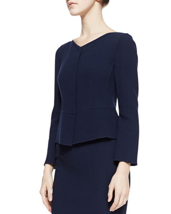 V-Neck Seamed Snap Jacket, Navy
