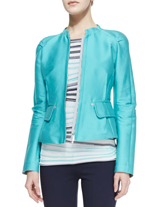 2-Pocket Zip-Front Sport Jacket, Striped Short-Sleeve Knit Top & Jersey ...