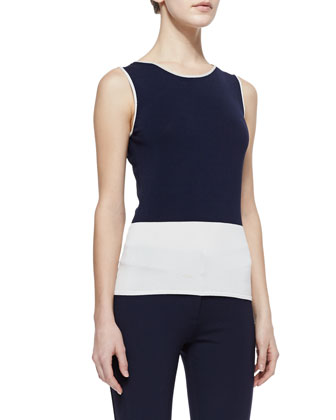 Colorblock Knit Tank, Midnight/Ivory