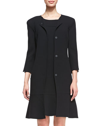 3/4-Sleeve Coat with Flared Sweep, Black