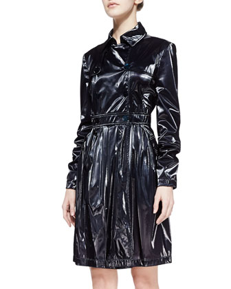 Liquid Tech Trench Coat, Navy