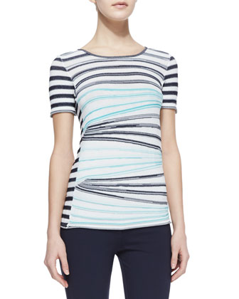 Striped Short-Sleeve Knit Top, Porcelain/Aqua