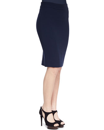 V-Neck Seamed Snap Jacket & Crepe Pencil Skirt