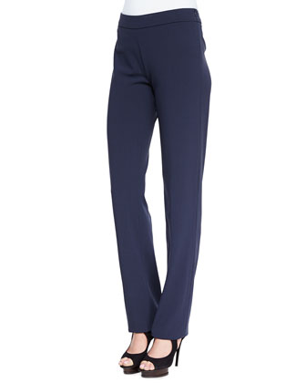 Slim Pants with Side Zip and Waistband, Navy