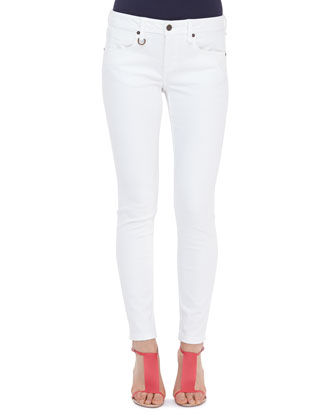 Seamed Skinny Jeans with Heritage Ring, White