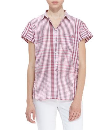 Short-Sleeve Gingham Button-Up Shirt, Berry Red