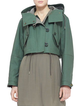 Cropped Hooded Parka Jacket, Pigment Green