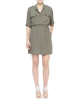 Silky Dress with Gunflaps, Dusty Khaki