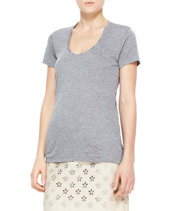 Heathered Short-Sleeve Tee, Gray