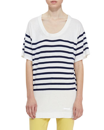 Short-Sleeve Stripe Knit Oversized Tee, White/Navy