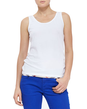 Check-Hem Cotton Tank, White