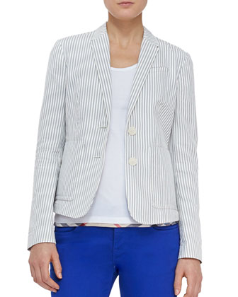 Cotton Seersucker Blazer, Mid Indigo