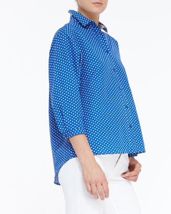 Polka-Dot 3/4-Sleeve Batwing Top & Seamed Skinny Jeans with Heritage Ring