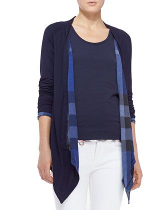 Reversible Check Waterfall Cardigan, Check-Hem Cotton Tank & Seamed Skinny ...