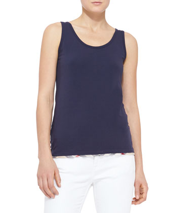 Check-Hem Cotton Tank, Navy