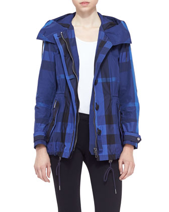 Zip-Front Check Rain Jacket, Indigo